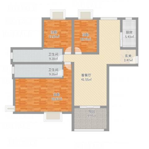 柳青齐鲁园3室1厅2卫1厨181.00㎡户型图