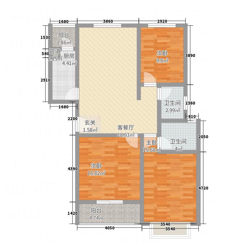 彰德天阶127.50㎡G户型3室2厅2卫1厨