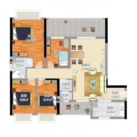 DADA的草地4室1厅3卫1厨152.00㎡户型图