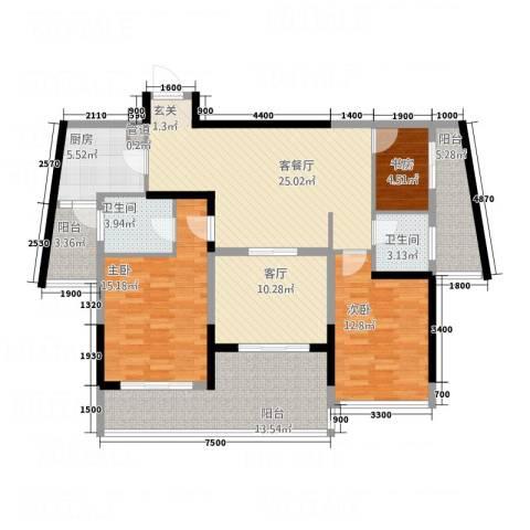 红豆美墅3室2厅2卫1厨115.00㎡户型图