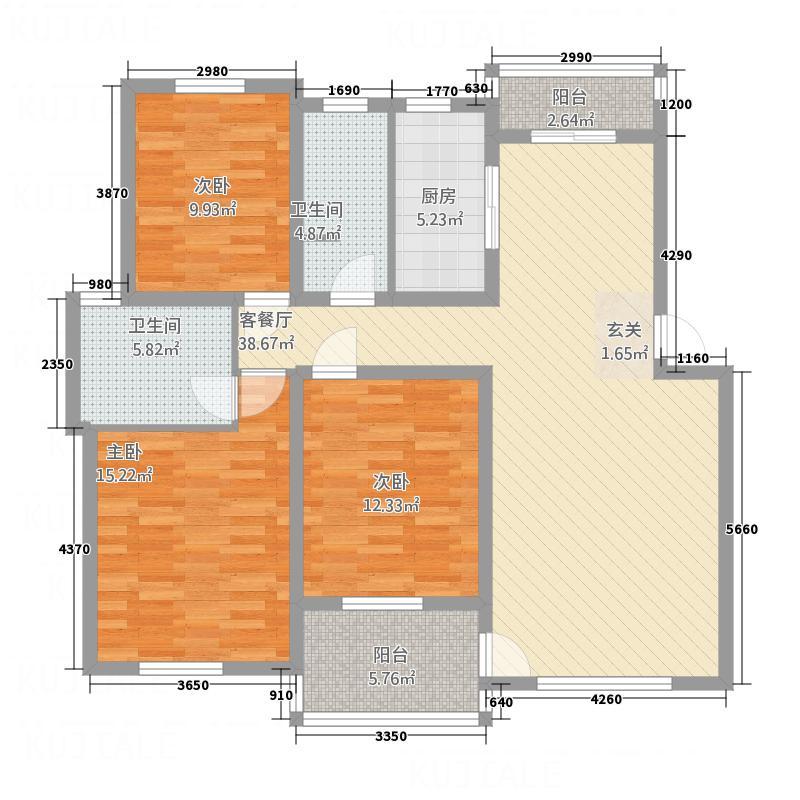 奥克斯天伦城123.50㎡3B户型3室2厅2卫1厨