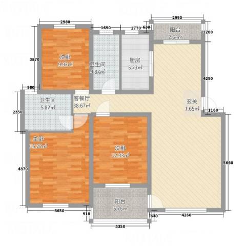 奥克斯天伦城3室1厅2卫1厨124.00㎡户型图
