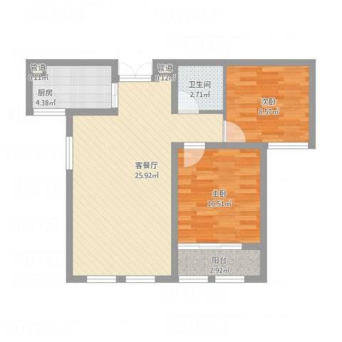 金色年华2室1厅1卫1厨80.00㎡户型图