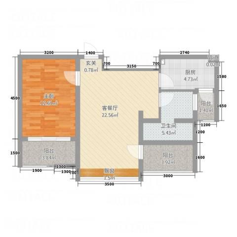 城市之星1室1厅1卫1厨79.00㎡户型图