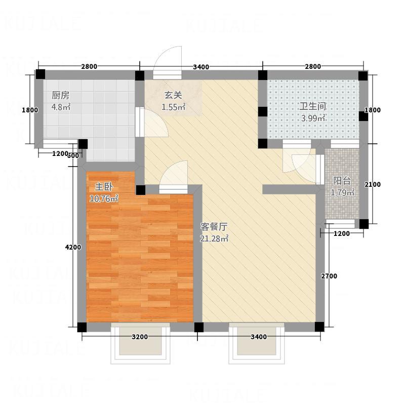 黄山厚海58.00㎡雅舍户型1室2厅1卫1厨