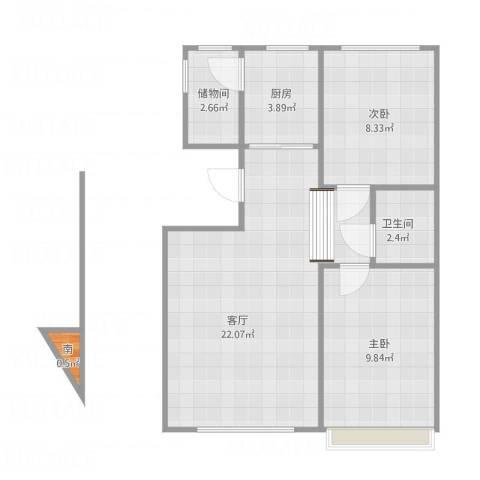 凯立天香水畔2室1厅1卫1厨68.00㎡户型图