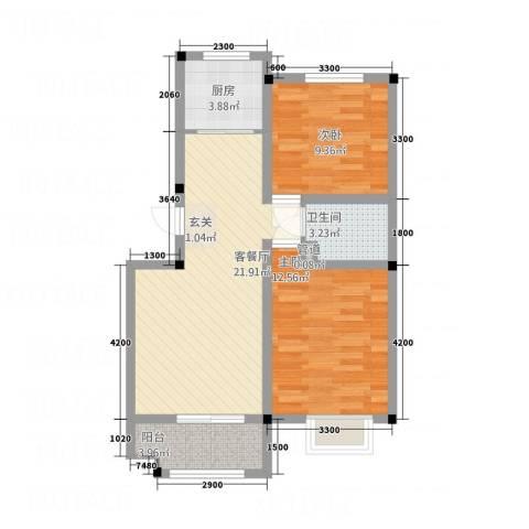 黄山厚海2室1厅1卫1厨72.00㎡户型图