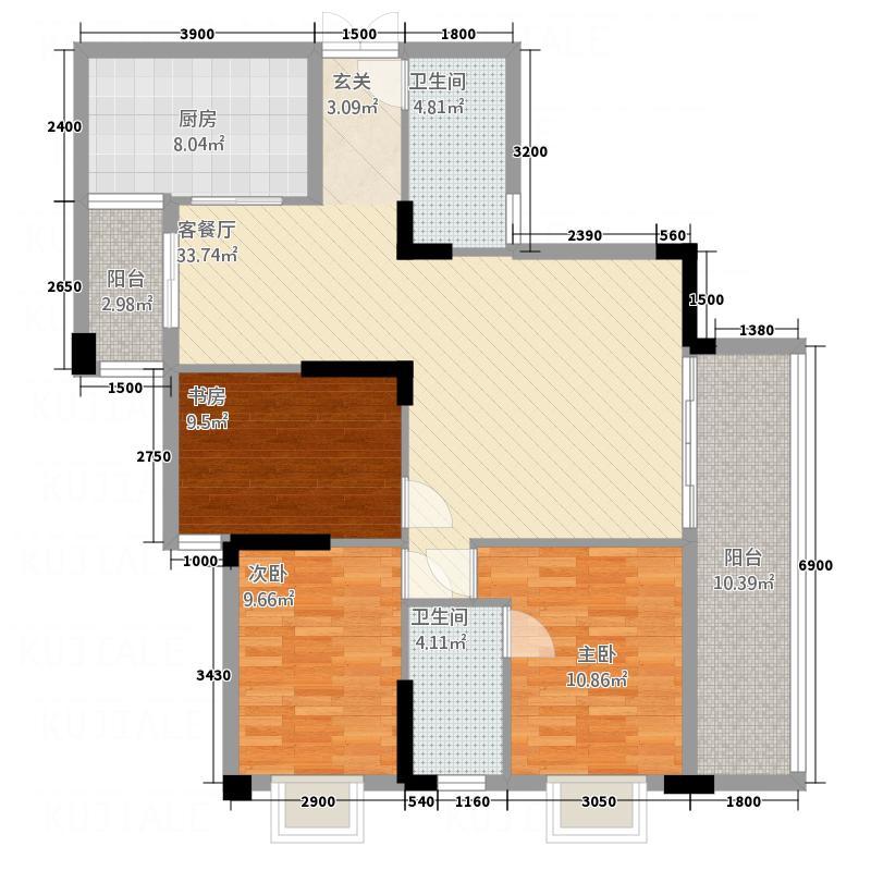 亚居启城114.16㎡户型3室2厅1卫1厨