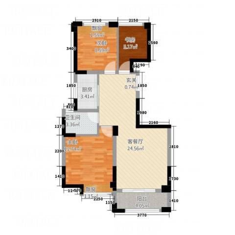 瑶溪金御湾3室1厅1卫1厨61.88㎡户型图