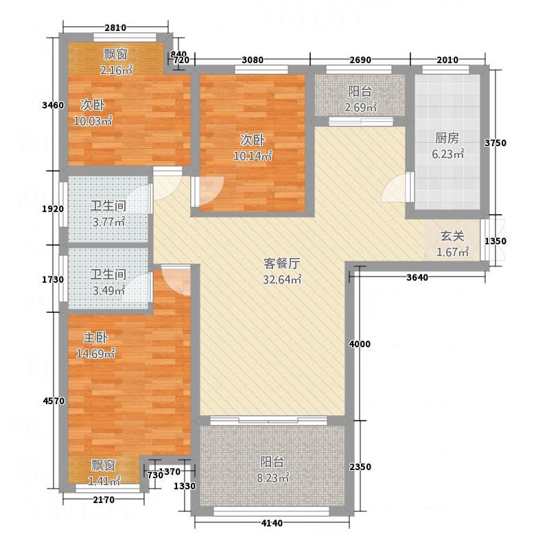 九龙广场132.18㎡户型3室2厅2卫1厨