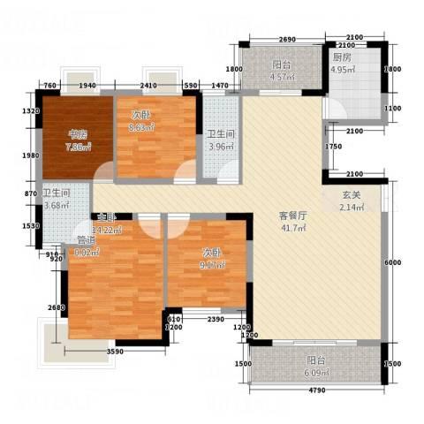 联泰香域尚城4室1厅2卫1厨104.84㎡户型图
