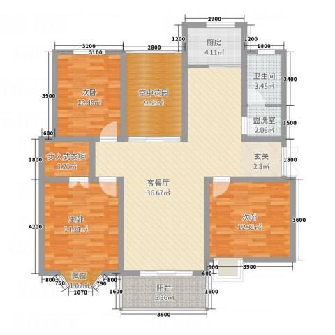 印象新城3室2厅1卫1厨143.00㎡户型图