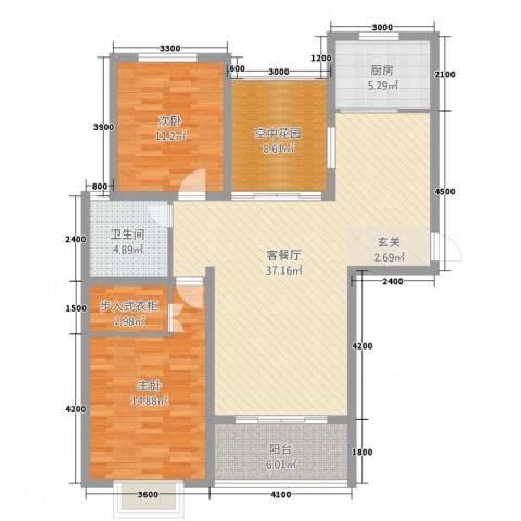 印象新城2室1厅1卫1厨117.00㎡户型图