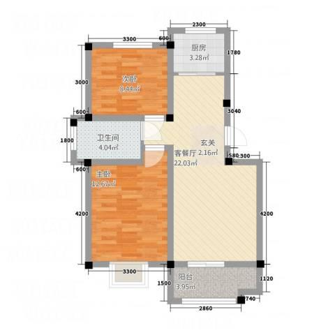 黄山厚海2室1厅1卫1厨73.00㎡户型图