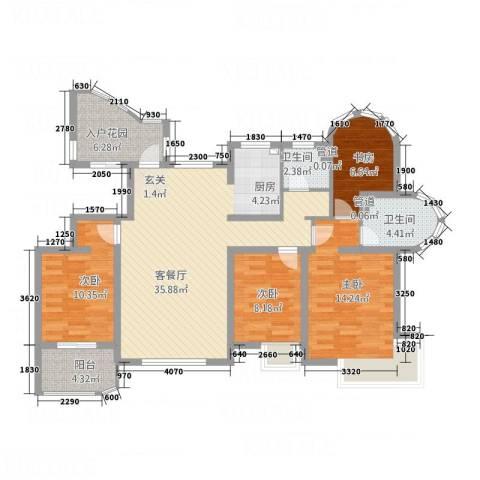 海航白金汇4室1厅2卫0厨134.00㎡户型图