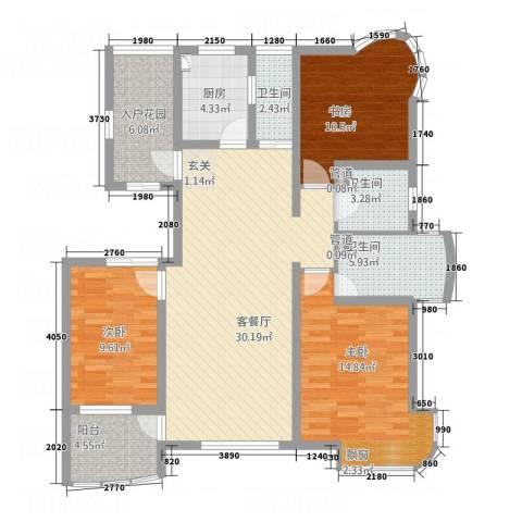 海航白金汇3室1厅3卫1厨134.00㎡户型图