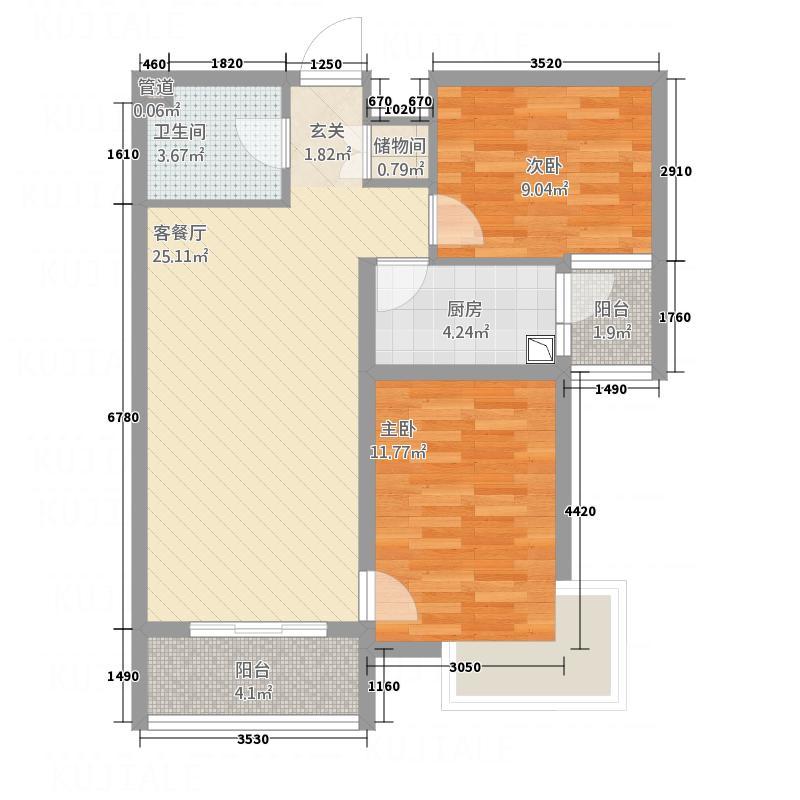 卓雅豪庭87.86㎡E户型2室2厅