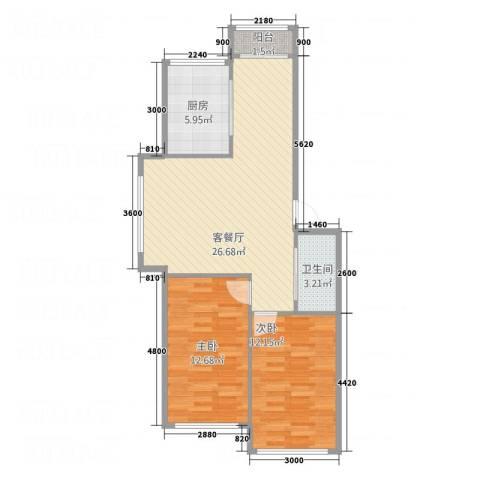 橙色锦苑2室1厅1卫1厨85.00㎡户型图