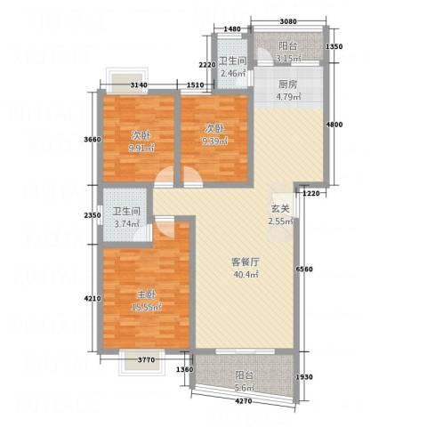 嘉怡锦湾3室1厅2卫0厨90.21㎡户型图
