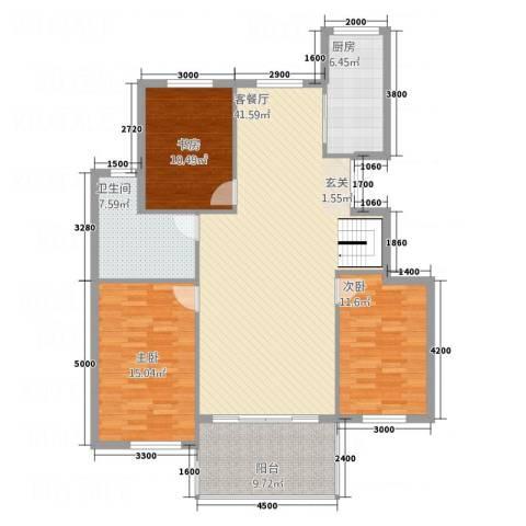 华烁・梧桐苑3室1厅1卫1厨131.00㎡户型图