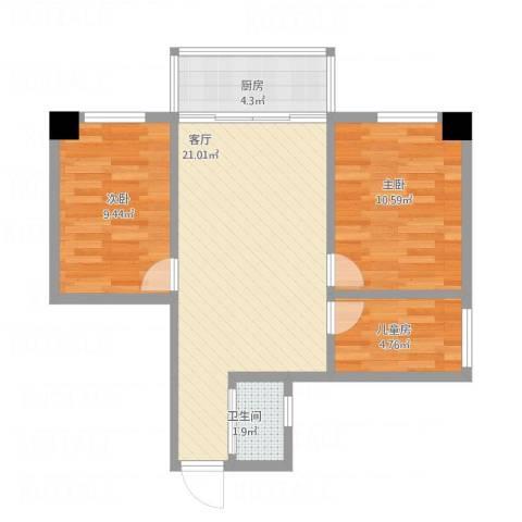 番禺富华楼3室1厅1卫1厨68.00㎡户型图
