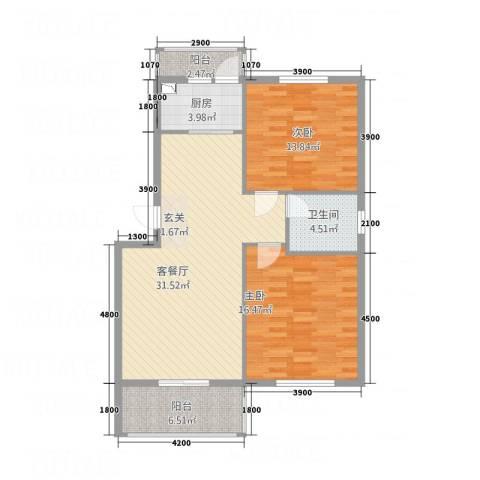 锦隆・时代华庭2室1厅1卫1厨79.52㎡户型图
