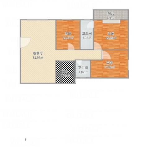 五州大厦3室1厅2卫1厨171.00㎡户型图