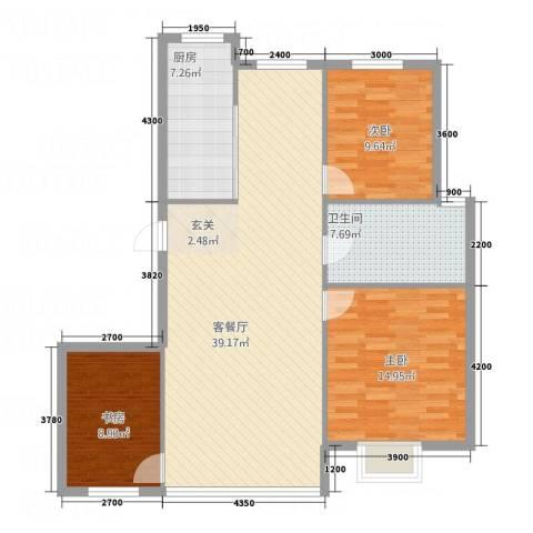 华烁・梧桐苑3室1厅1卫1厨87.65㎡户型图