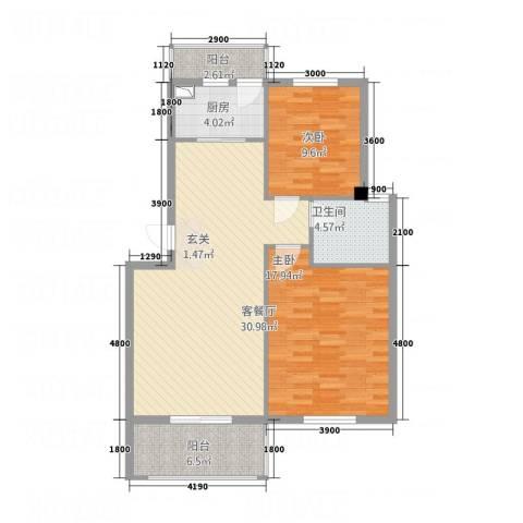 锦隆・时代华庭2室1厅1卫1厨76.36㎡户型图