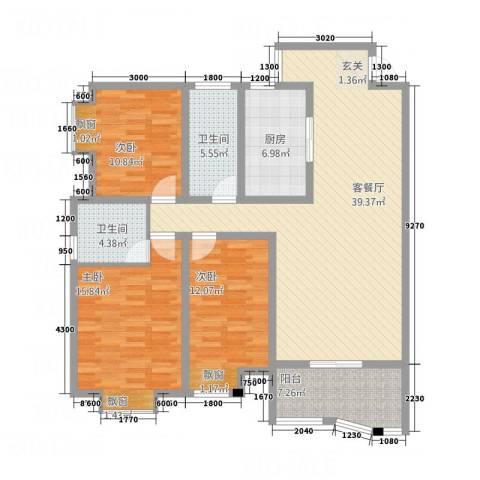 怡景华庭3室1厅2卫1厨132.00㎡户型图