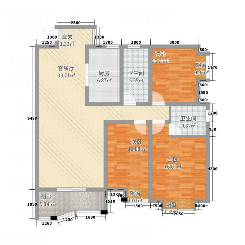 怡景华庭131.27㎡05户型3室2厅2卫1厨