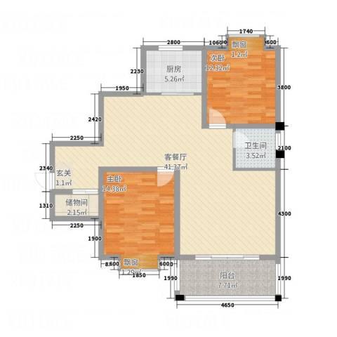 怡景华庭2室1厅1卫1厨86.71㎡户型图