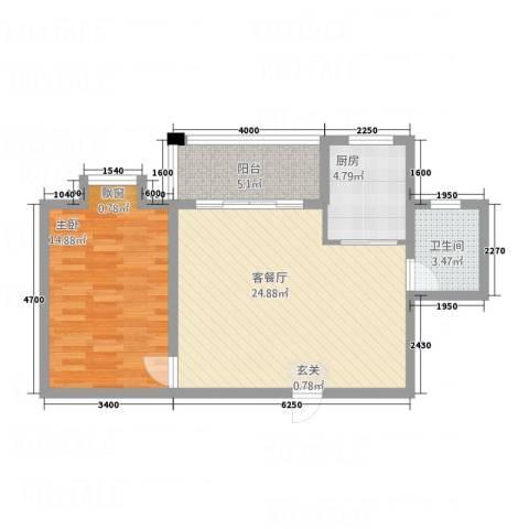 怡景华庭1室1厅1卫1厨67.00㎡户型图