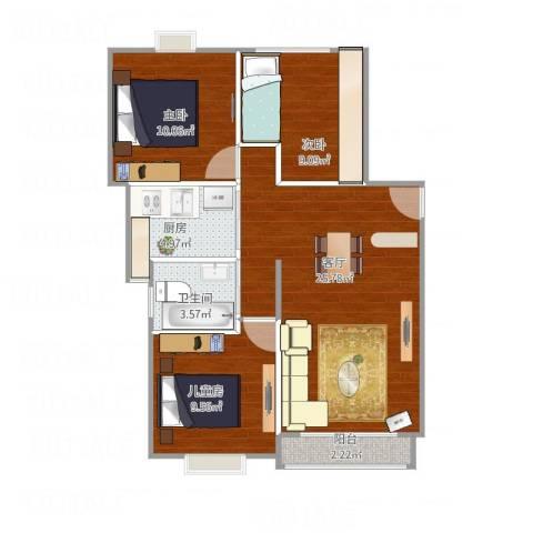 梧桐城邦二期3室1厅1卫1厨88.00㎡户型图