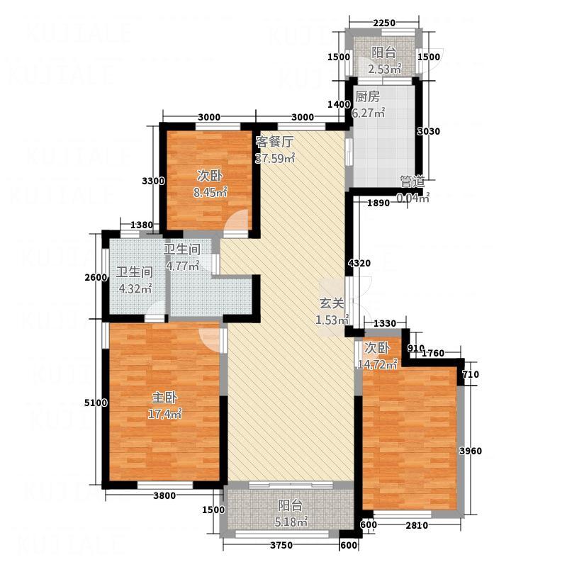 西山-九郡3146.20㎡户型3室2厅2卫