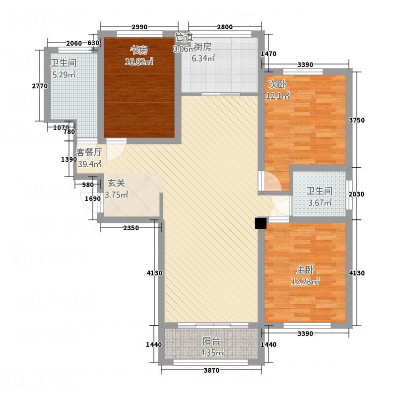恒基・理想家32135.20㎡a户型3室2厅2卫