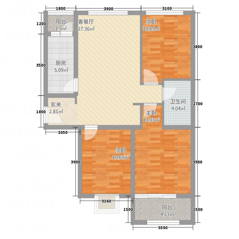 滨河城上城2832126.75㎡28#户型3室2厅1卫1厨
