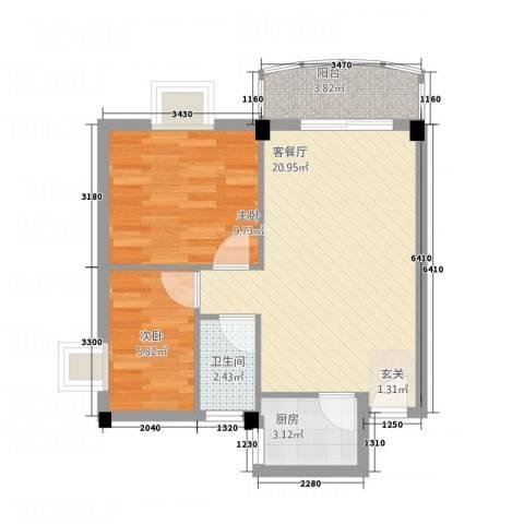 东海湾2室1厅1卫1厨65.00㎡户型图