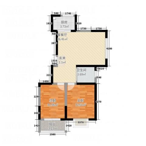 晟宝龙广场2室1厅1卫1厨88.00㎡户型图