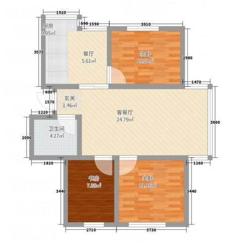 金河湾3室1厅1卫1厨68.10㎡户型图