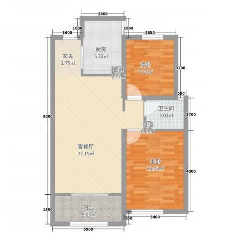 中贸商业城2室1厅1卫1厨70.26㎡户型图