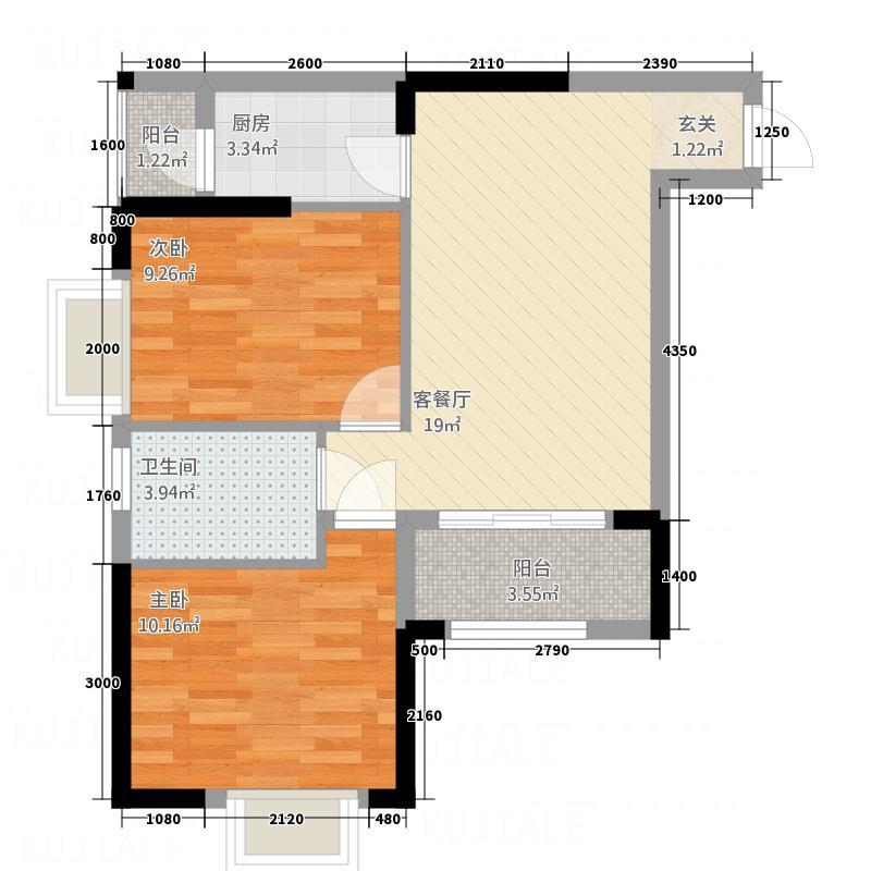月亮湾三期8.22㎡B4户型2室2厅1卫