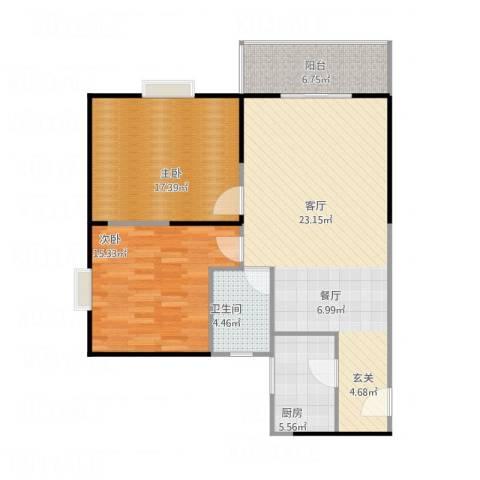 鼎盛国际公寓2室1厅1卫1厨112.00㎡户型图