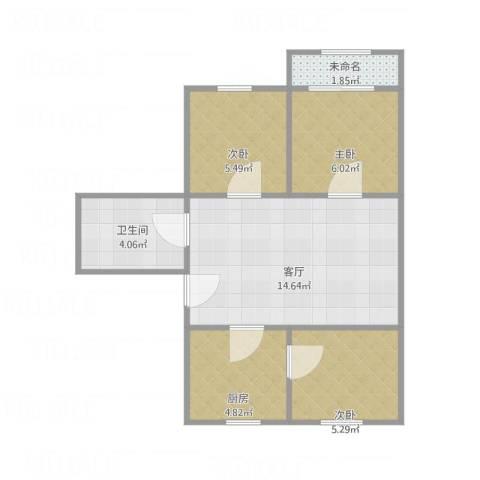 扇骨营3室1厅1卫1厨58.00㎡户型图