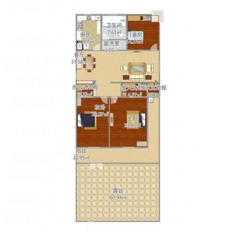 明珠山庄3室2厅1卫1厨280.00㎡户型图