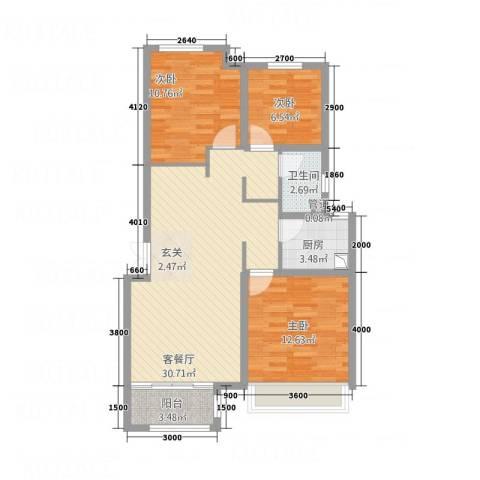 盛世・保尔HOUSE3室1厅1卫1厨101.00㎡户型图