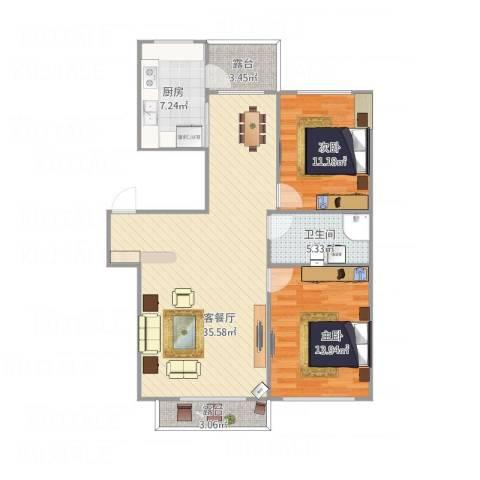 御景湾2室1厅1卫1厨107.00㎡户型图