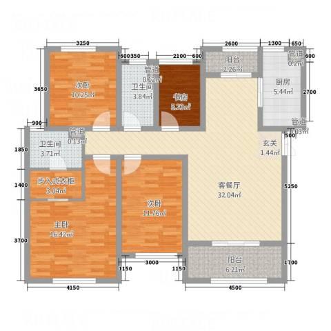 中贸商业城4室1厅2卫1厨117.50㎡户型图