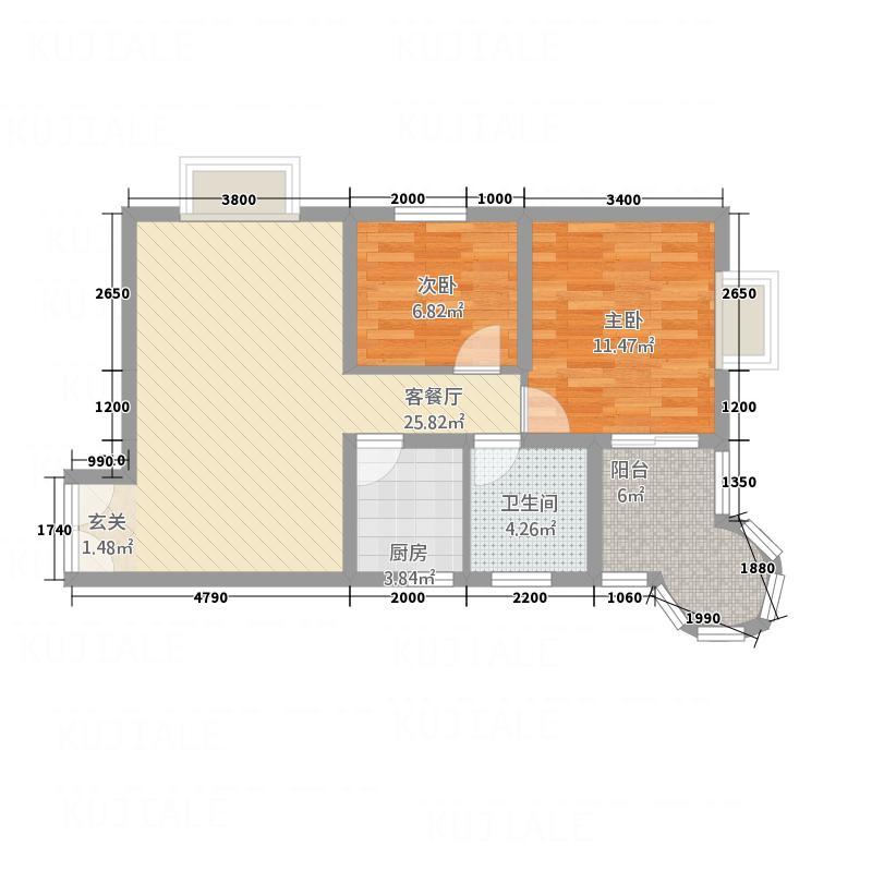 悦园豪庭84.35㎡8435东北户型2室2厅1卫1厨