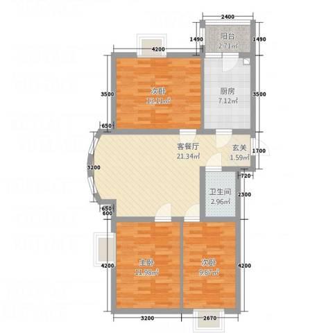 铂宫3室1厅1卫1厨99.00㎡户型图